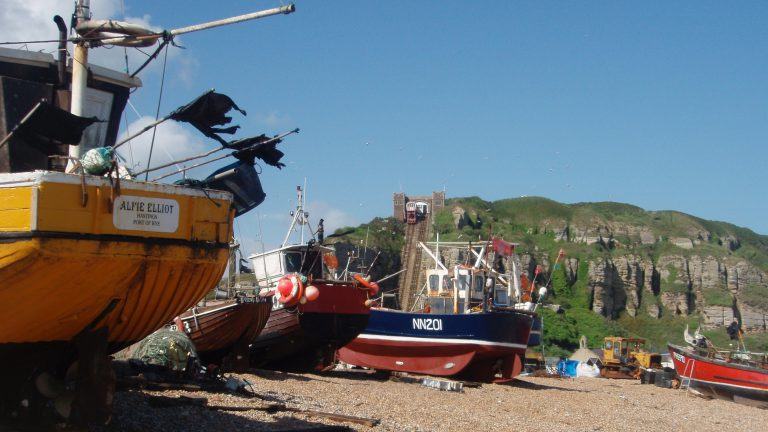 Fishing boats still land on the beach at Hastings
