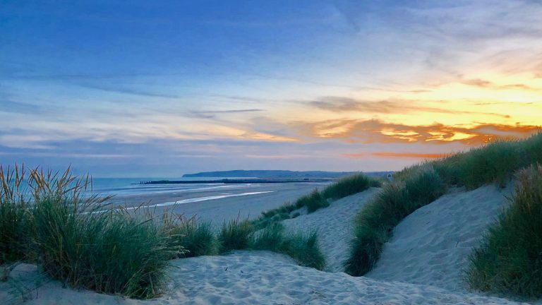 Sunset from the dunes at Camber Sands in September