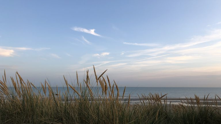 Camber Sands beach at dusk taken from the dunes