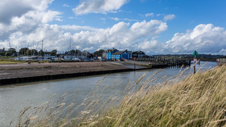 Rye Harbour and Lifeboat Station viewed from the Camber side of the River Rother