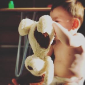 Baby playing with Daisy Dog soft toy